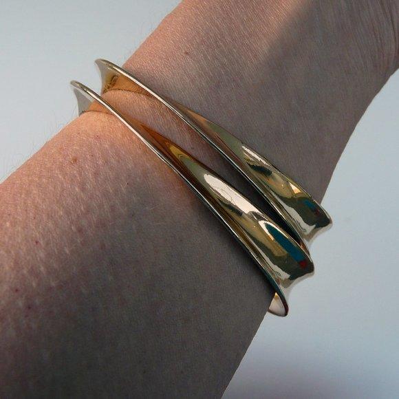 Georg Jensen style mobius bangles, gold tone